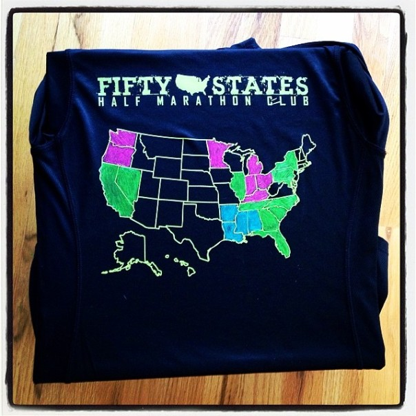 50 States Half Marathon Club Shirts with Map